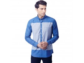 Cobalt Blue Color Block Slim Fit Button Down Shirt