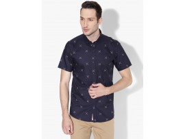 Oxford print Navy Blue Slim Fit Half Sleeves Shirt